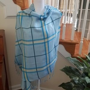 Pashmina cashmere and silk in blue plaid